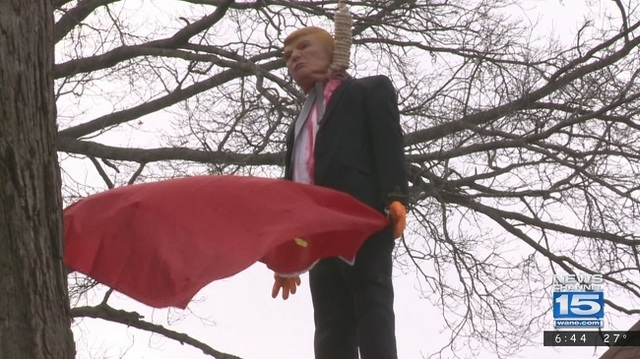 Police: Hanging Trump effigy in Indiana protected by First Amendment