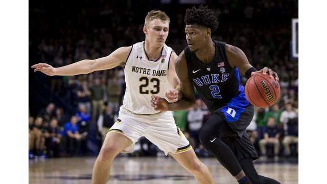 (2) Duke opens ACC week with 83-61 win at Notre Dame